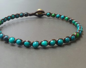 Single Chrysocolla  Anklet