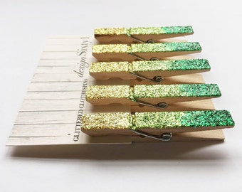 Glittered Ombre Clothespins - Green
