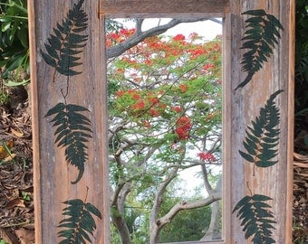 Rustic Mirror with Fern Detail
