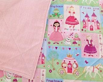 """Girl Quilt/Blanket  Princess theme *Crib, floor mat, stroller*  36""""x 40"""""""