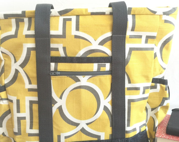 Yellow and Grey Large Tote with zipper, Travel Tote, Diaper Bag, Work Tote, Professional Tote, Large Tote with Pocket, Teacher Bag