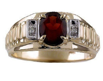 Mens Birthstone Ring with Garnet, Onyx or Tigers Eye (or any other birthstone of your choice) set in 14K Yellow or White Gold