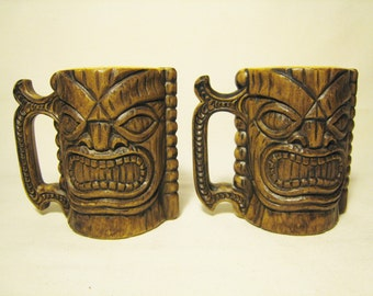 20% OFF SALE // Vintage Souvenir Tiki Mugs / Original Kona Coffee Mill Hawaii USA Plastic Mugs - Tropical Hawaiian Paradise Vacation