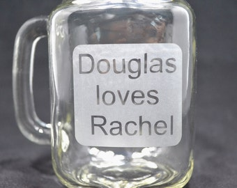 Custom Drinking Glass, Custom Glass, Coffee Mug, Wedding Gift, Sandblasted Glass, Frosted, Etched Glass, Bride and Groom Coffee Mugs