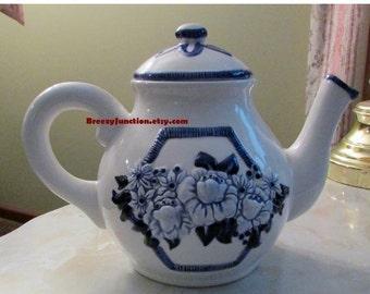 CIJ Tea Pot, Blue and White Pottery, Kitchen Decor, Large Teapot, Country French Decor - BreezyJunction.etsy.com