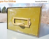 ON SALE Vintage Army Green Industrial Office Index File Drawer with Brass Pull, Library Card File, Storage