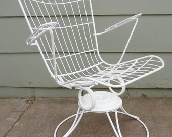 ON SALE Homecrest, Eames Era, Metal, Wire, Chair, White, High Back Chair, Vintage, Mid Century Modern,, Swivel Chair, Lounge Chair