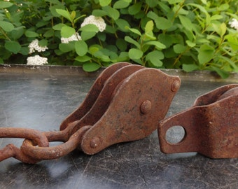 2 Vintage Pulleys Block And Tackle Metal, Farm, Rusty, Industrial