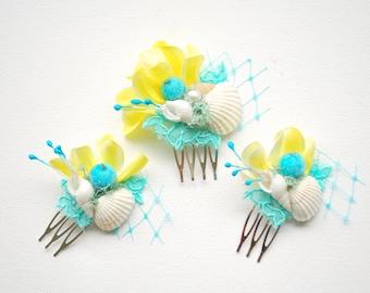 Aqua Blue Yellow White Bridal Comb, Beach Hawaiian Weddings Hair Accessories, Yellow Blue Orchids Hair Pieces, Beach Seashells Combs