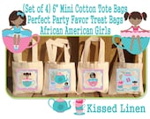 """African American Little Girl Tea Party Birthday Treat Favor Gift Bags Mini 6"""" Natural Cotton Totes Kids Guests Tea Party Favor Gift Bags"""