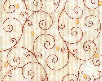 Believe by H Glass Cream tonal stripe with Red swirls & gold stars Yardage