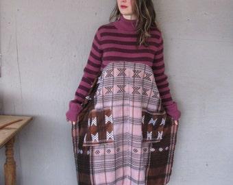 Romantic Bohemian tunic dress Eco upcycled clothing X Large 1 X hippie gypsy tunic dress Artsy Lagenlook tunic by LillieNoraDryGoods