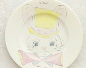 Hand Painted Portrait Plate Pink  and Yellow Bunny Rabbit Alice Mary Hagen Ivory Porcelain  1960 Easter