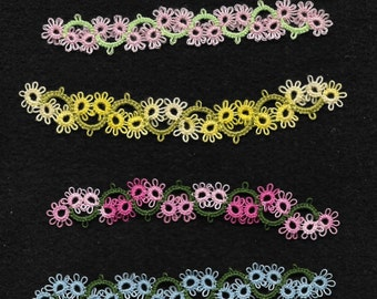 Set of 4 tatted lace book markers