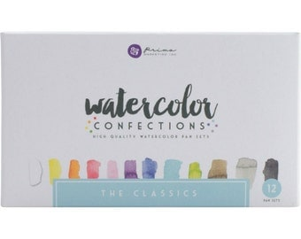 Watercolor Paints - Prima Marketing Confections - Classics - Half Pans - Tin Palette - Travel Case  - Use brush or water pen - 12 colors