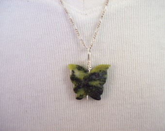 Carved Jade Butterfly Necklace Silver