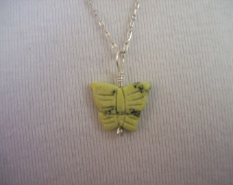 Carved Jade Butterfly Necklace Silver Chain