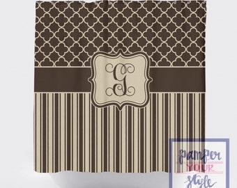 Brown and Beige Moroccan Shower Curtain - Clover, Lattice, Quatrefoil Stripe, Neutral Shower Curtain - Custom Monogrammed Curtain