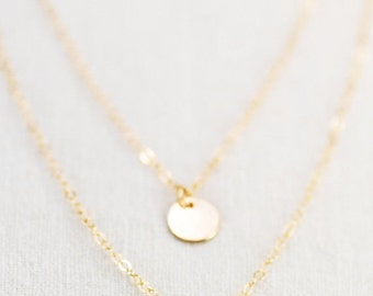 SALE Aniani necklace - double layered 14k gold filled disc necklace, delicate gold necklace, double strand necklace, layering necklace, hawa