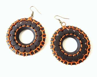 Hoop Earrings, Ethnic earrings, Orange earrings, Wooden earrings, Boho earrings, Gypsy earrings, Tribal earrings,  African earrings
