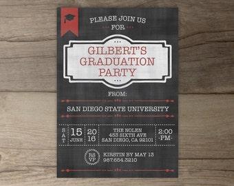 Graduation Party Invitation Announcement • Grad Invites • Chalkboard • Custom Colors • printable