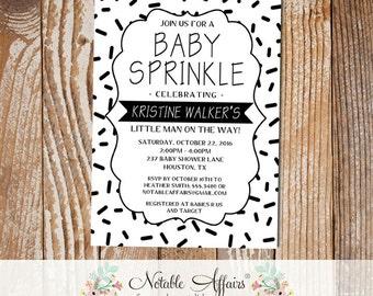 Black and White Sprinkles Minimalist Baby Sprinkle invitation - black and white baby sprinkle - modern minimal baby sprinkle