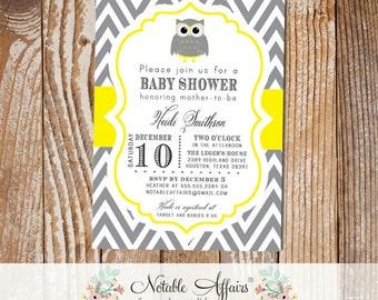 Dark Gray Charcoal and Yellow Mustard Chevron Owl Modern Baby Shower Birthday Invitation - choose your colors