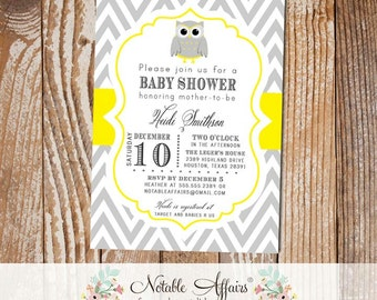 Gray and Yellow Owl Chevron Baby Shower Birthday or Gender Reveal Invitation - colors can be changed