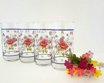 Vintage Libbey Floral Drinking Glasses Tumblers Highballs Flowers Set of 4