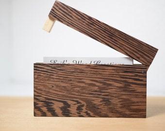 Wenge Wooden Business card holder / card case. Wooden Credit card holder. Groomsmen gift ideas. Anniversary gift