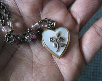 Vintage Gold Filled Mother of Pearl Heart Locket Vintage West German Glass Beads Assemblage Upcycled Recycled Repurposed