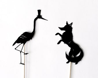 Fox and Crane Shadow Puppet Set