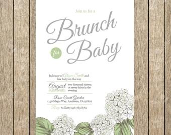Hydrangea Baby Shower Invitation, Brunch for Baby Invitation, Printable Invitation