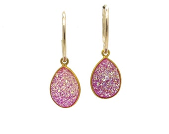 Titanium Druzy Earrings - Pink Druzy Earrings - Hoop Earrings Gold - Druzy Jewelry - Gold Filled Earrings with Druzy Stone