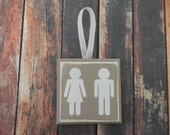 SMALL Painted Wood Bathroom Wall Hanging....Customizable...Bathroom Decor....HAVENSPLACE...Man and Woman Bathroom Sign