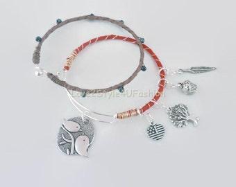 Charm Bracelet, Bangle Bracelet, Charm Bangle, Two Birds on a Wire Bracelet, Bangle, Bracelet Set, Jewelry, Wedding Party Gift, Bangles