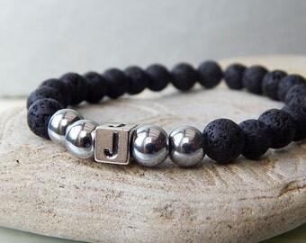 Men's Bracelet, Personalised Bracelet, Lava Rock Beaded Bracelet, Initial Bracelet, Boyfriend Gift, Men's Gif, Unisex Bracelet,