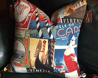 Italy:  Retro Travel Posters Pillow