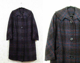 Vtg 50s Heavy Plaid Nubby Knit Tartan Winter Coat by Stroock from Milady Shop sz L