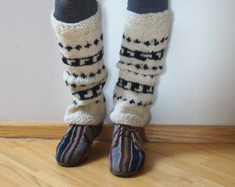 SALE Boot cuffs hand knitted Leg warmers Scandinavian topper white cream black handmade patterned gaiters ready to ship Wool large medium