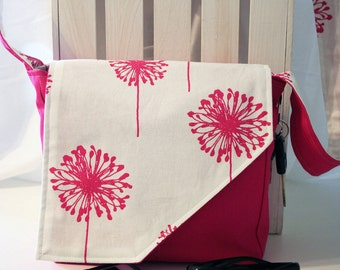 Pink Dandelion Wishes on Solid Pink Messenger Style Canvas Purse
