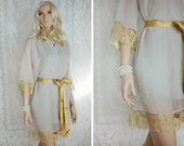 Grey and Gold. 4 elegant custom lace trimmed bridesmaids chiffon robes in a knee length. Dressing gowns. Bridesmaids robes and bridal robes.