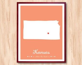Kansas map, State map, Kansas map drawing, Custom Map, Personalized Map, Home decor, wedding gift, nursery room art, Custom Map Art