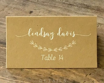 Wedding Place Cards, Simple Elegant Printed Placecards, Table Cards, Name Cards Calligraphy