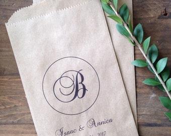 Wedding Candy Bags Monogram Buffet Bar Favor