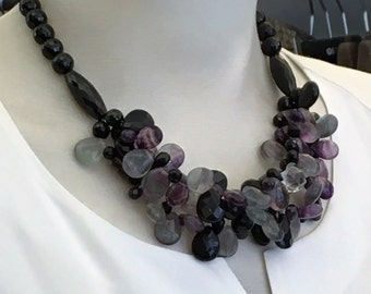 Chain polished Onyx and fluorite drops (No. 1)