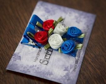 RED WHITE BLUE rosette flower hairclips