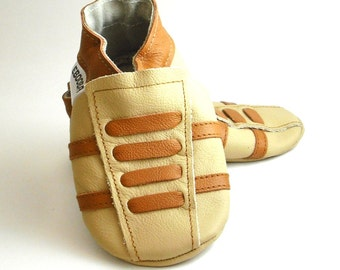 soft sole baby shoes leather infant sport beige brown  6-12 m ebooba SP-34-BE-T-2
