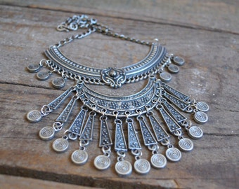 BS3103 Boho collar necklace-Coin necklace-Statement necklace-Gypsy necklace-Feather necklace-Summer necklace-Vintage inspired-Antique silver