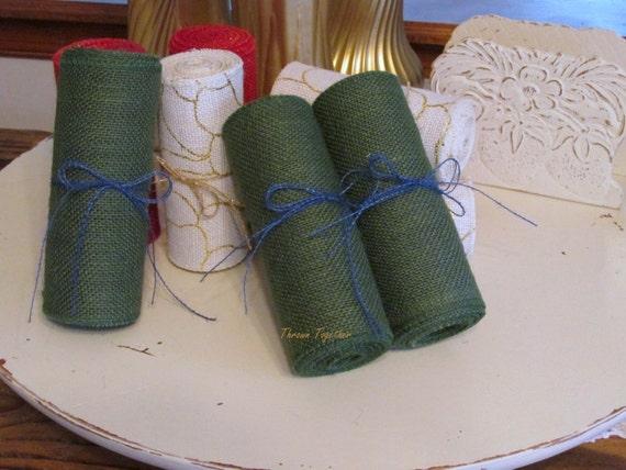 Hunter green burlap ribbon green burlap christmas for Green burlap ribbon
